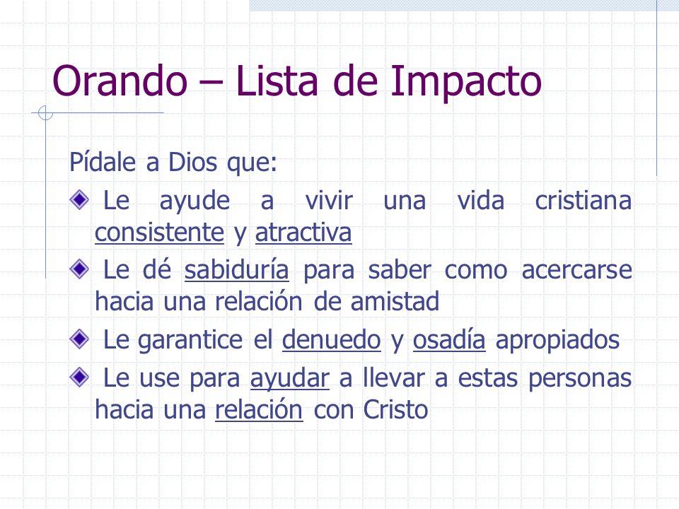 Orando – Lista de Impacto Pídale a Dios que: Le ayude a vivir una vida cristiana consistente y atractiva Le dé sabiduría para saber como acercarse hac