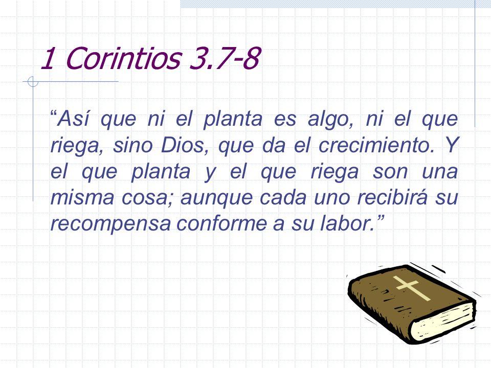 1 Corintios 3.7-8 Así que ni el planta es algo, ni el que riega, sino Dios, que da el crecimiento. Y el que planta y el que riega son una misma cosa;