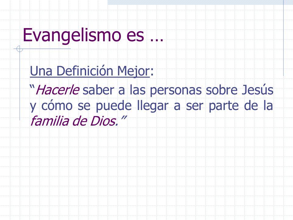 Evangelismo es … Una Definición Mejor: Hacerle saber a las personas sobre Jesús y cómo se puede llegar a ser parte de la familia de Dios.