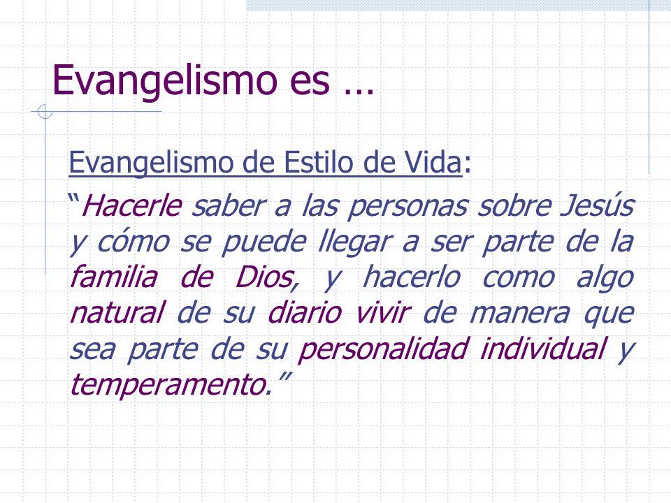 Evangelismo es … Evangelismo de Estilo de Vida: Hacerle saber a las personas sobre Jesús y cómo se puede llegar a ser parte de la familia de Dios, y h