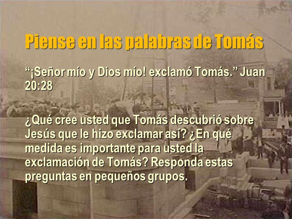 Piense en las palabras de Tomás ¡Señor mío y Dios mío! exclamó Tomás. Juan 20:28 ¿Qué cree usted que Tomás descubrió sobre Jesús que le hizo exclamar
