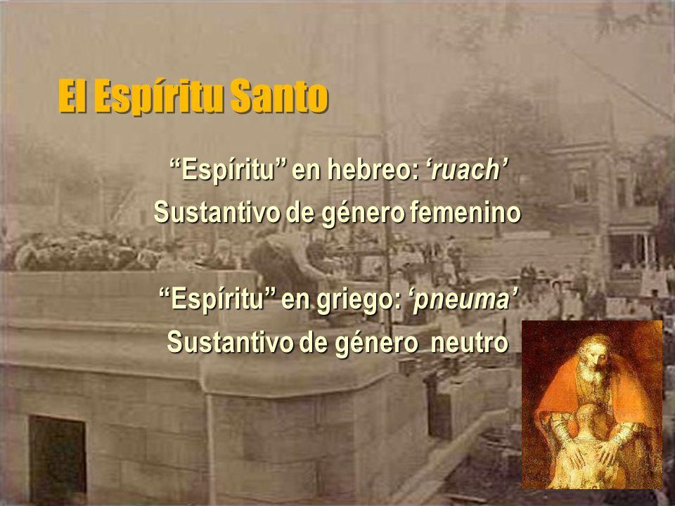 El Espíritu Santo Espíritu en hebreo: ruach Sustantivo de género femenino Espíritu en griego: pneuma Sustantivo de género neutro
