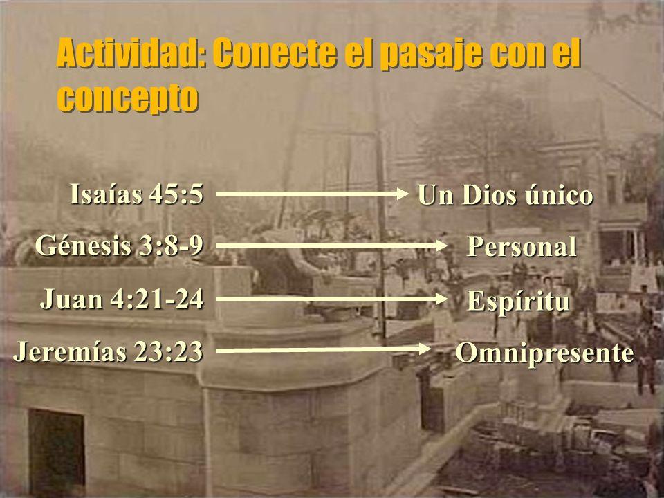 Actividad: Conecte el pasaje con el concepto Espíritu Omnipresente Un Dios único Personal Juan 4:21-24 Isaías 45:5 Génesis 3:8-9 Jeremías 23:23