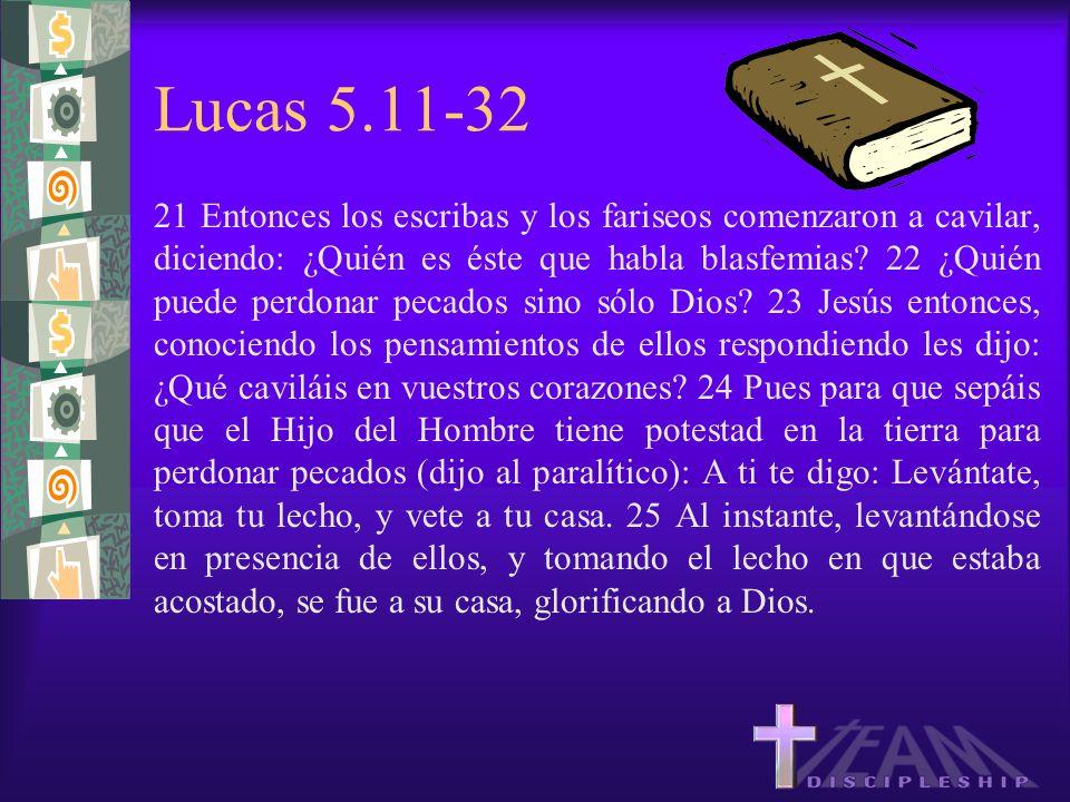 Lucas 5.11-32 21 Entonces los escribas y los fariseos comenzaron a cavilar, diciendo: ¿Quién es éste que habla blasfemias? 22 ¿Quién puede perdonar pe