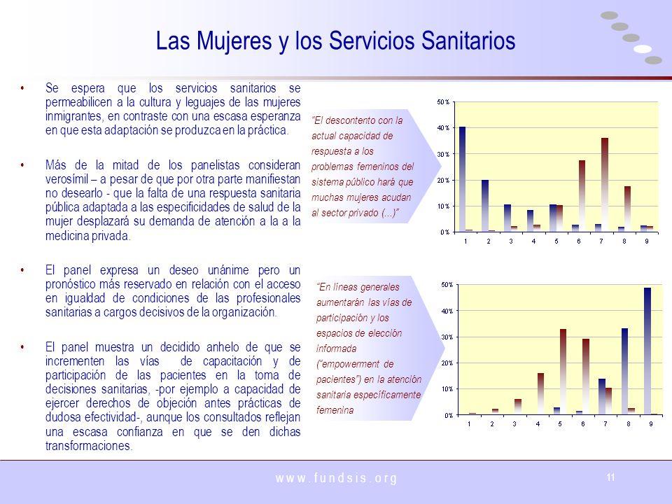 w w w. f u n d s i s. o r g 11 Las Mujeres y los Servicios Sanitarios Se espera que los servicios sanitarios se permeabilicen a la cultura y leguajes