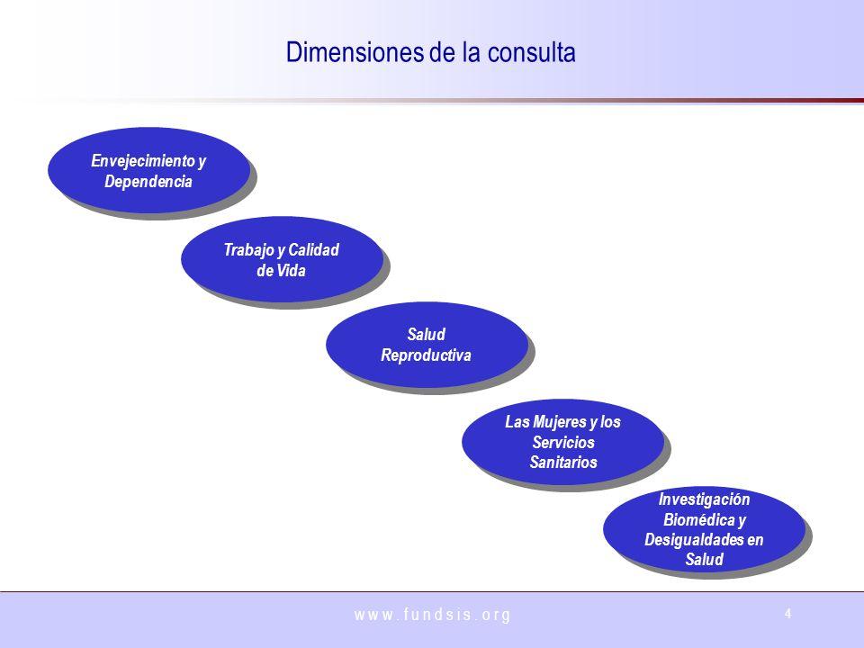w w w. f u n d s i s. o r g 4 Dimensiones de la consulta Envejecimiento y Dependencia Trabajo y Calidad de Vida Salud Reproductiva Las Mujeres y los S