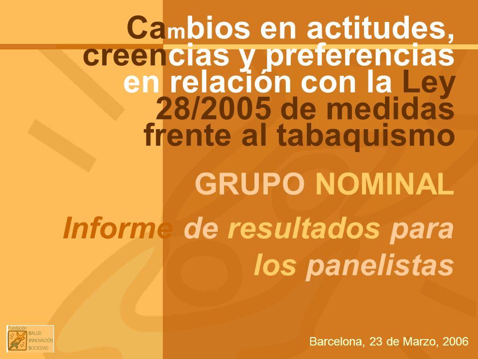 GRUPO NOMINAL Informe de resultados para los panelistas Ca m bios en actitudes, creencias y preferencias en relación con la Ley 28/2005 de medidas fre