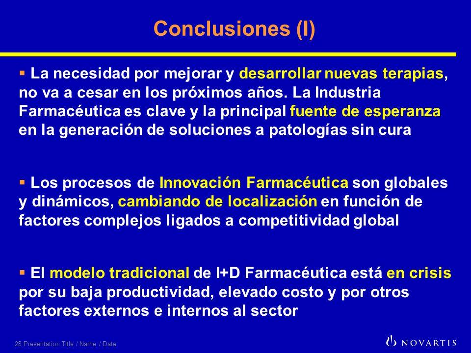 28 Presentation Title / Name / Date Conclusiones (I) La necesidad por mejorar y desarrollar nuevas terapias, no va a cesar en los próximos años. La In