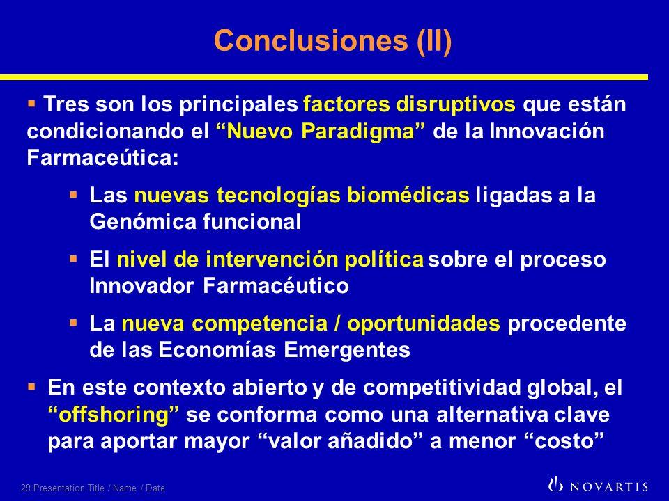 29 Presentation Title / Name / Date Conclusiones (II) Tres son los principales factores disruptivos que están condicionando el Nuevo Paradigma de la I