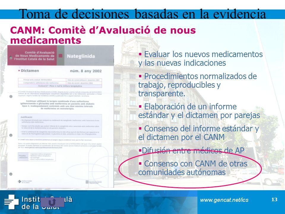 13 www.gencat.net/ics Toma de decisiones basadas en la evidencia Evaluar los nuevos medicamentos y las nuevas indicaciones Procedimientos normalizados