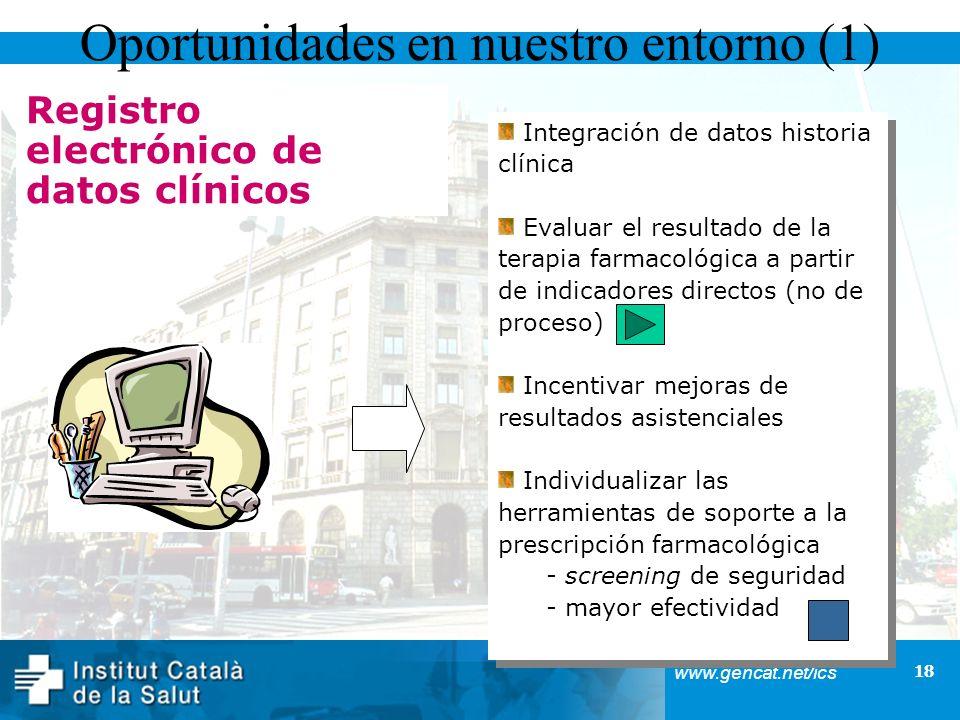 18 www.gencat.net/ics Registro electrónico de datos clínicos Oportunidades en nuestro entorno (1) Integración de datos historia clínica Evaluar el res