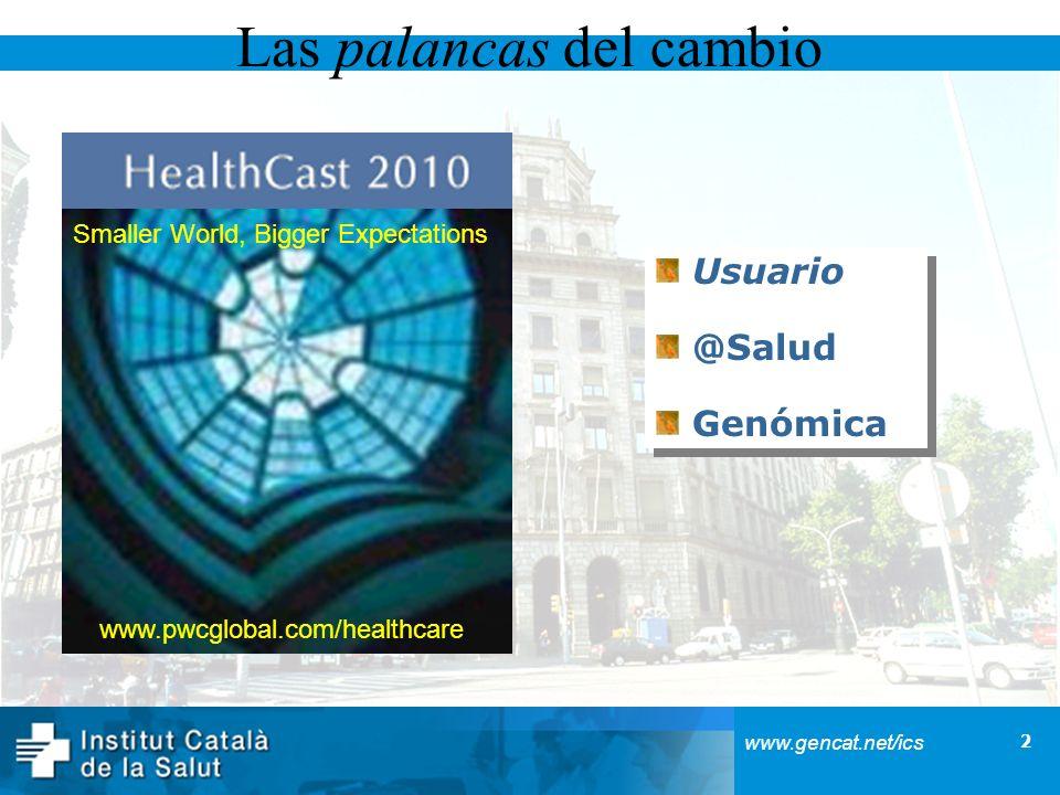 3 www.gencat.net/ics El usuario quiere participar en las decisiones sobre su salud Inversión creciente en salud Transferencia de costes Motivación: información/publicidad DTC Formación Impaciente