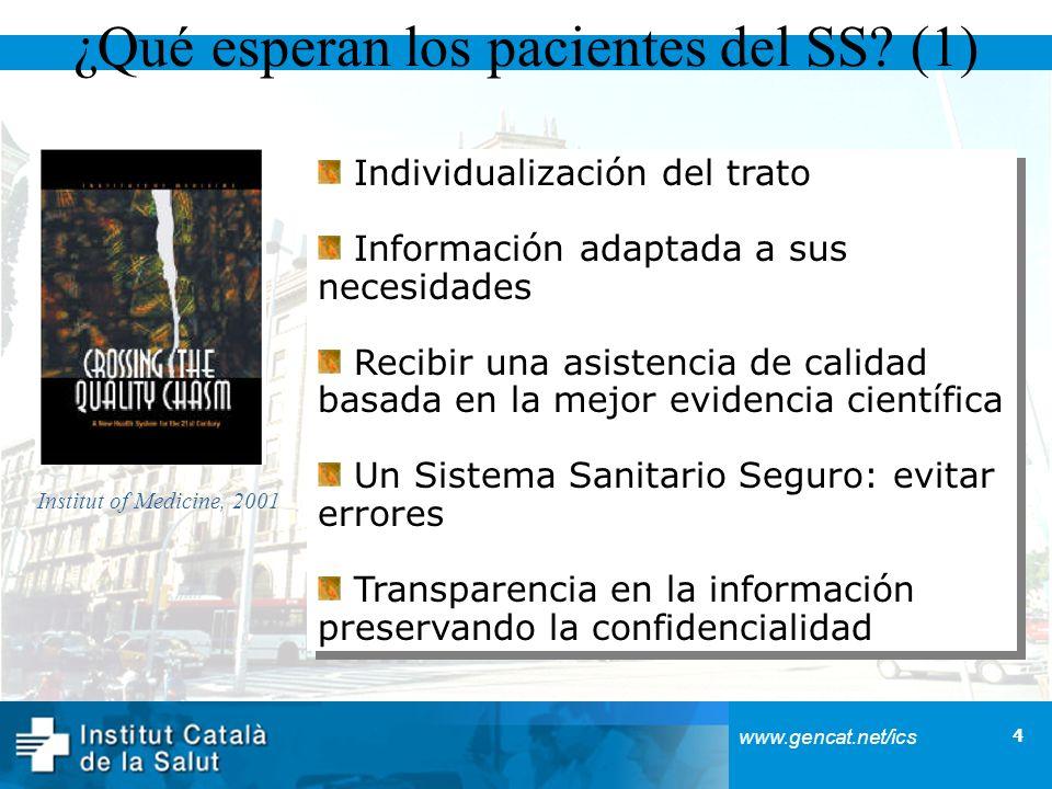 4 www.gencat.net/ics ¿Qué esperan los pacientes del SS? (1) Individualización del trato Información adaptada a sus necesidades Recibir una asistencia
