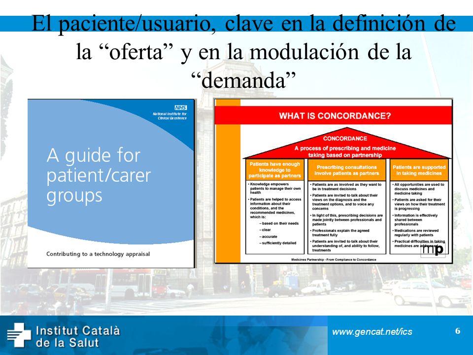 6 www.gencat.net/ics El paciente/usuario, clave en la definición de la oferta y en la modulación de la demanda