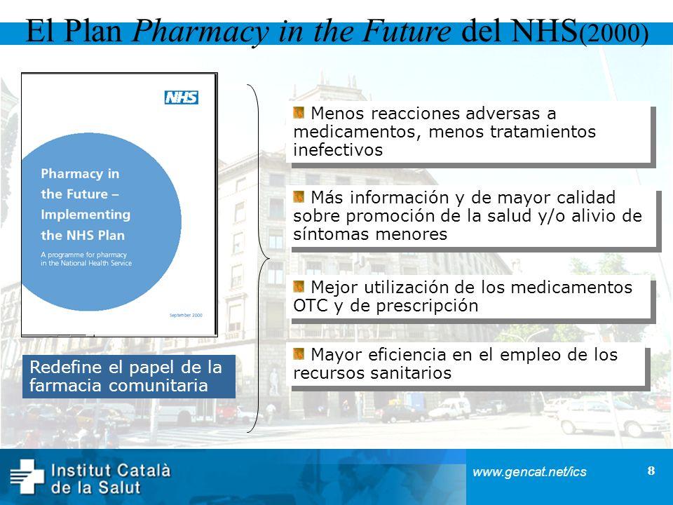 8 www.gencat.net/ics El Plan Pharmacy in the Future del NHS (2000) Redefine el papel de la farmacia comunitaria Trabajo conjunto hospital/farmacia com