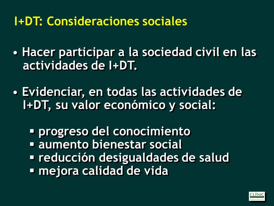 Hacer participar a la sociedad civil en las actividades de I+DT.