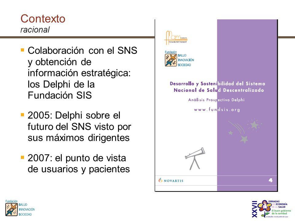 Contexto racional Colaboración con el SNS y obtención de información estratégica: los Delphi de la Fundación SIS 2005: Delphi sobre el futuro del SNS