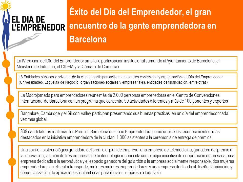 Éxito del Día del Emprendedor, el gran encuentro de la gente emprendedora en Barcelona La IV edición del Día del Emprendedor amplía la participación i