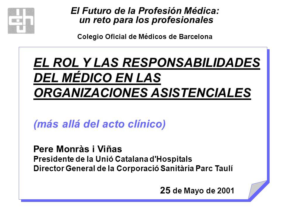 EL ROL Y LAS RESPONSABILIDADES DEL MÉDICO EN LAS ORGANIZACIONES ASISTENCIALES (más allá del acto clínico) Pere Monràs i Viñas Presidente de la Unió Ca