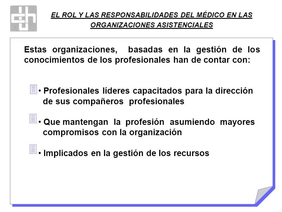 EL ROL Y LAS RESPONSABILIDADES DEL MÉDICO EN LAS ORGANIZACIONES ASISTENCIALES Estas organizaciones, basadas en la gestión de los conocimientos de los