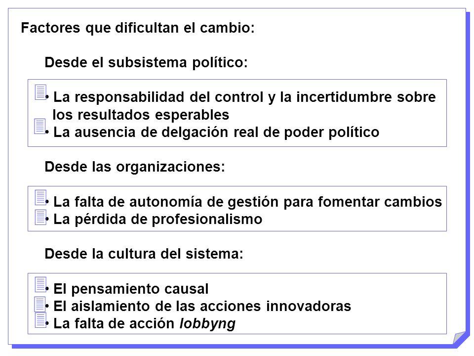 Factores que dificultan el cambio: Desde el subsistema político: La responsabilidad del control y la incertidumbre sobre los resultados esperables La