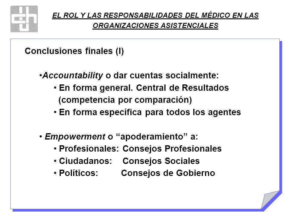 EL ROL Y LAS RESPONSABILIDADES DEL MÉDICO EN LAS ORGANIZACIONES ASISTENCIALES Conclusiones finales (I) Accountability o dar cuentas socialmente: En fo