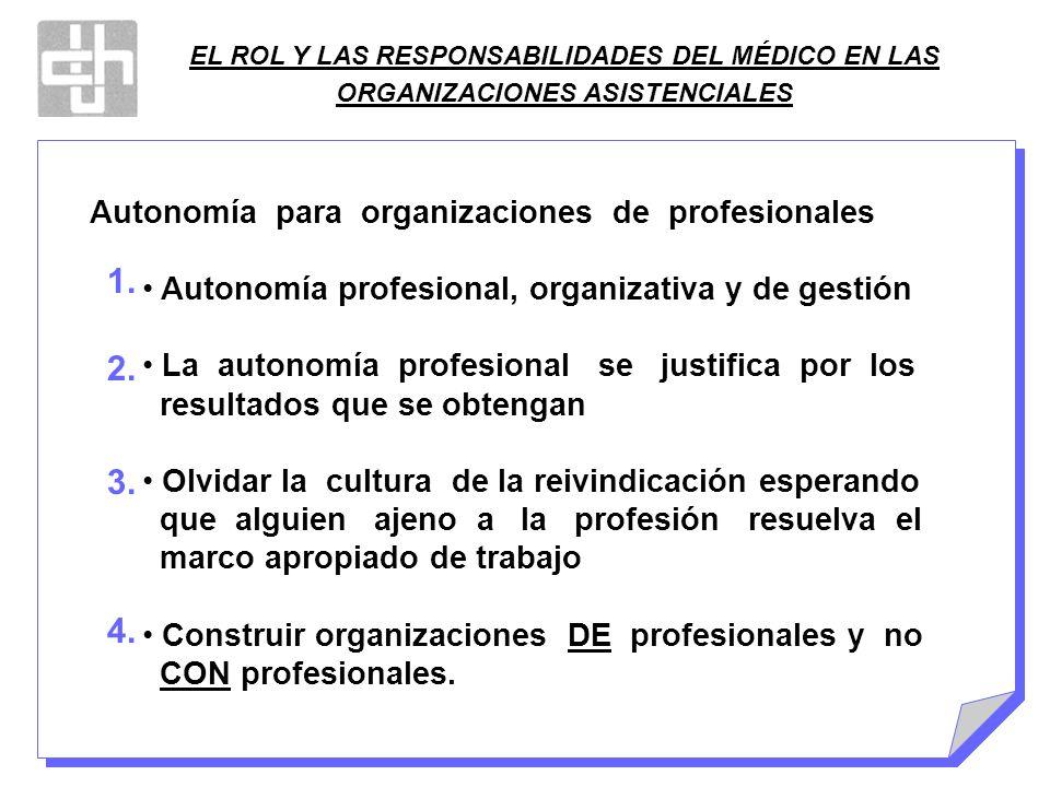 EL ROL Y LAS RESPONSABILIDADES DEL MÉDICO EN LAS ORGANIZACIONES ASISTENCIALES Autonomía para organizaciones de profesionales Autonomía profesional, or