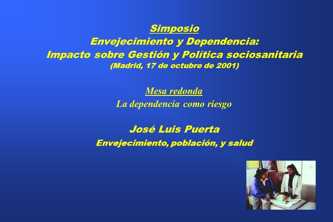 Simposio Envejecimiento y Dependencia: Impacto sobre Gestión y Política sociosanitaria (Madrid, 17 de octubre de 2001) Mesa redonda La dependencia com
