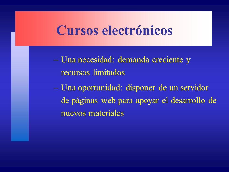 Cursos electrónicos –Una necesidad: demanda creciente y recursos limitados –Una oportunidad: disponer de un servidor de páginas web para apoyar el desarrollo de nuevos materiales