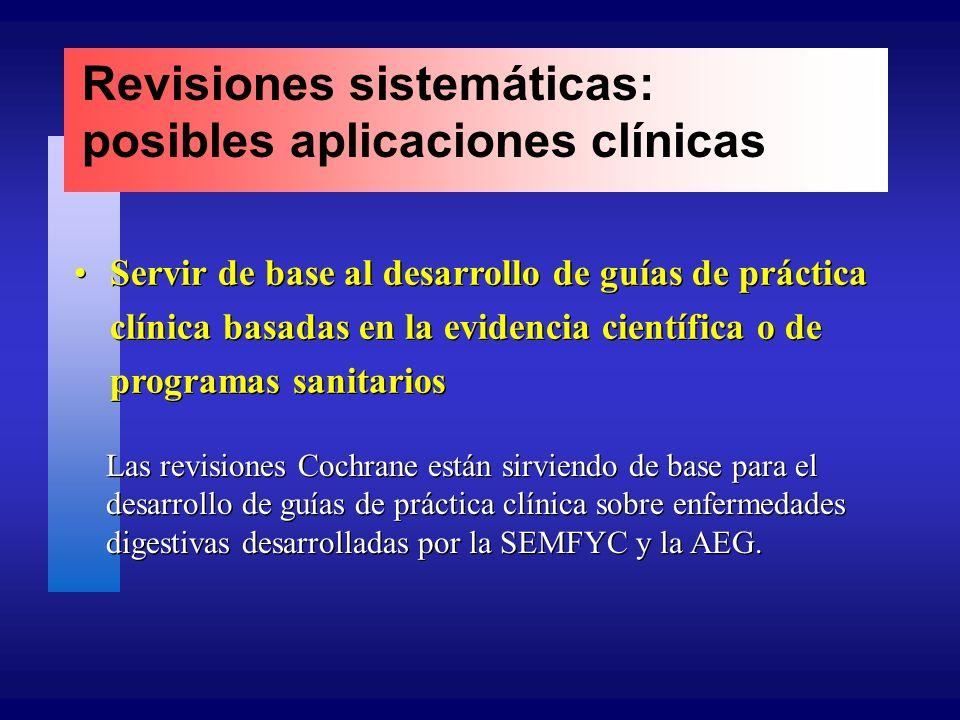 Revisiones sistemáticas: posibles aplicaciones clínicas Servir de base al desarrollo de guías de práctica clínica basadas en la evidencia científica o de programas sanitarios Las revisiones Cochrane están sirviendo de base para el desarrollo de guías de práctica clínica sobre enfermedades digestivas desarrolladas por la SEMFYC y la AEG.