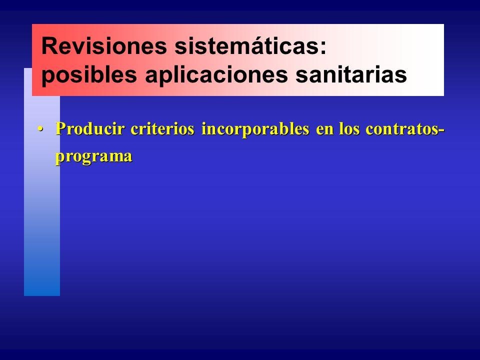 Revisiones sistemáticas: posibles aplicaciones sanitarias Producir criterios incorporables en los contratos- programa