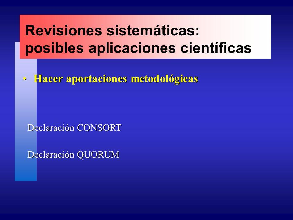 Revisiones sistemáticas: posibles aplicaciones científicas Hacer aportaciones metodológicas Declaración CONSORT Declaración QUORUM