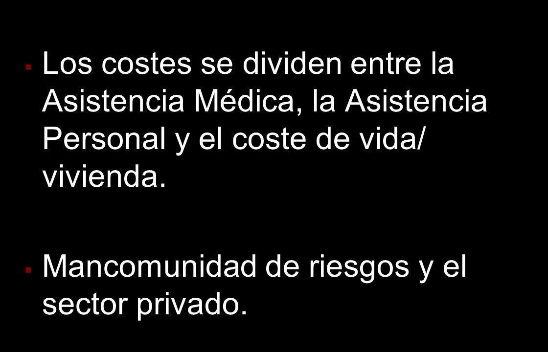 Los costes se dividen entre la Asistencia Médica, la Asistencia Personal y el coste de vida/ vivienda. Mancomunidad de riesgos y el sector privado.