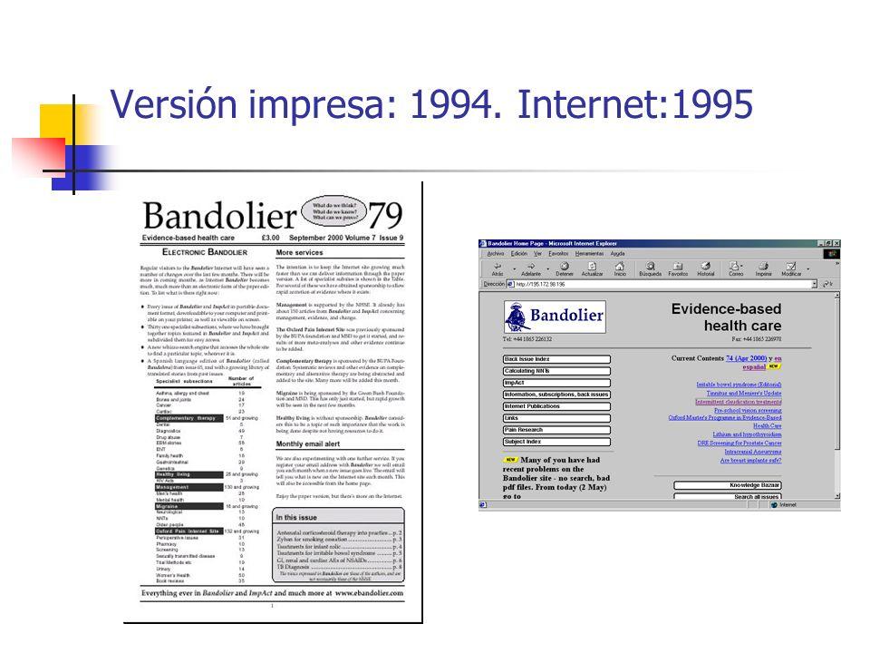 Versión impresa: 1994. Internet:1995