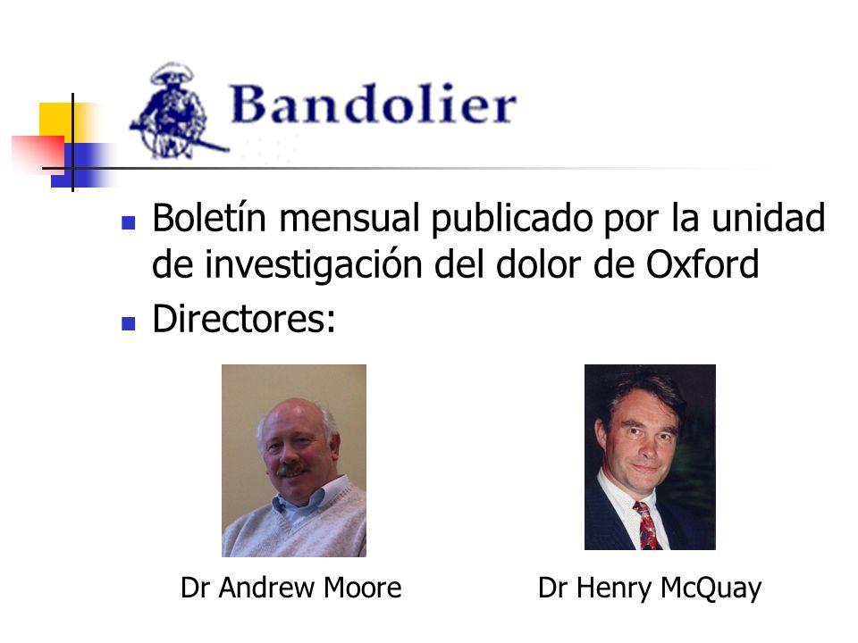 Boletín mensual publicado por la unidad de investigación del dolor de Oxford Directores: Dr Henry McQuayDr Andrew Moore