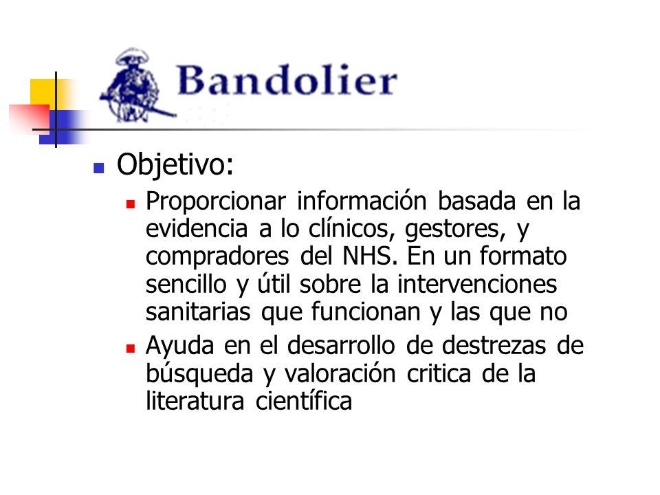 Bandolera versión en español de Bandolier Solo versión Internet Revista + algunos artículos antiguos y de las nuevas secciones Motor de búsqueda