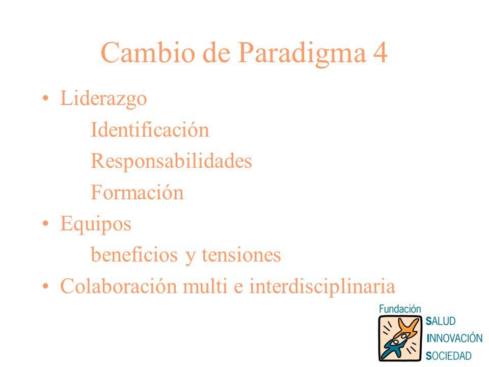 Cambio de Paradigma 4 Liderazgo Identificación Responsabilidades Formación Equipos beneficios y tensiones Colaboración multi e interdisciplinaria