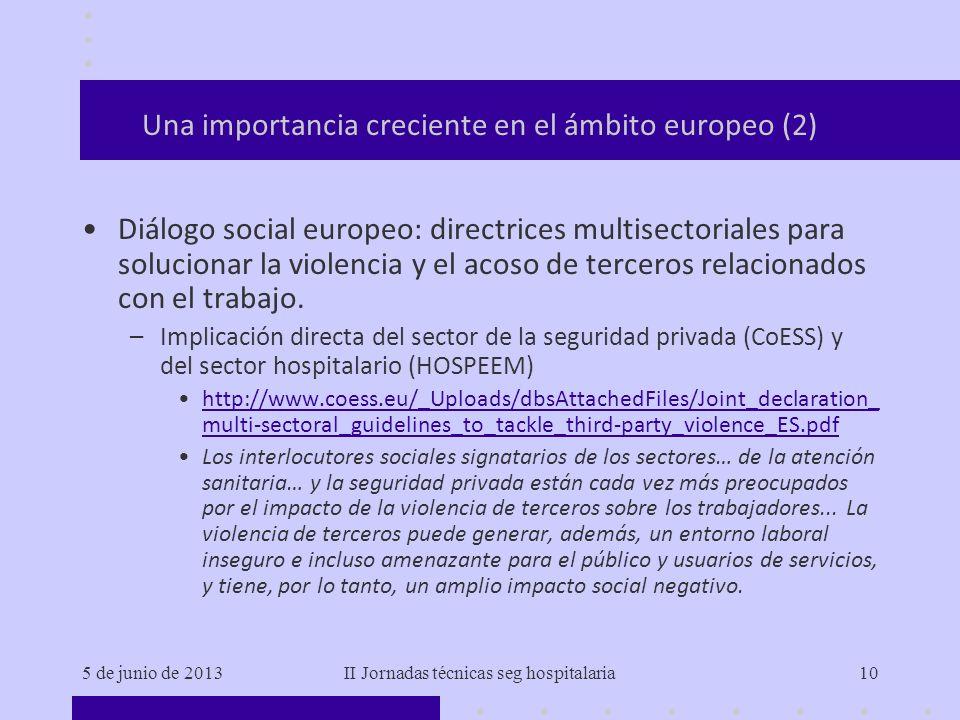 5 de junio de 2013II Jornadas técnicas seg hospitalaria10 Una importancia creciente en el ámbito europeo (2) Diálogo social europeo: directrices multi