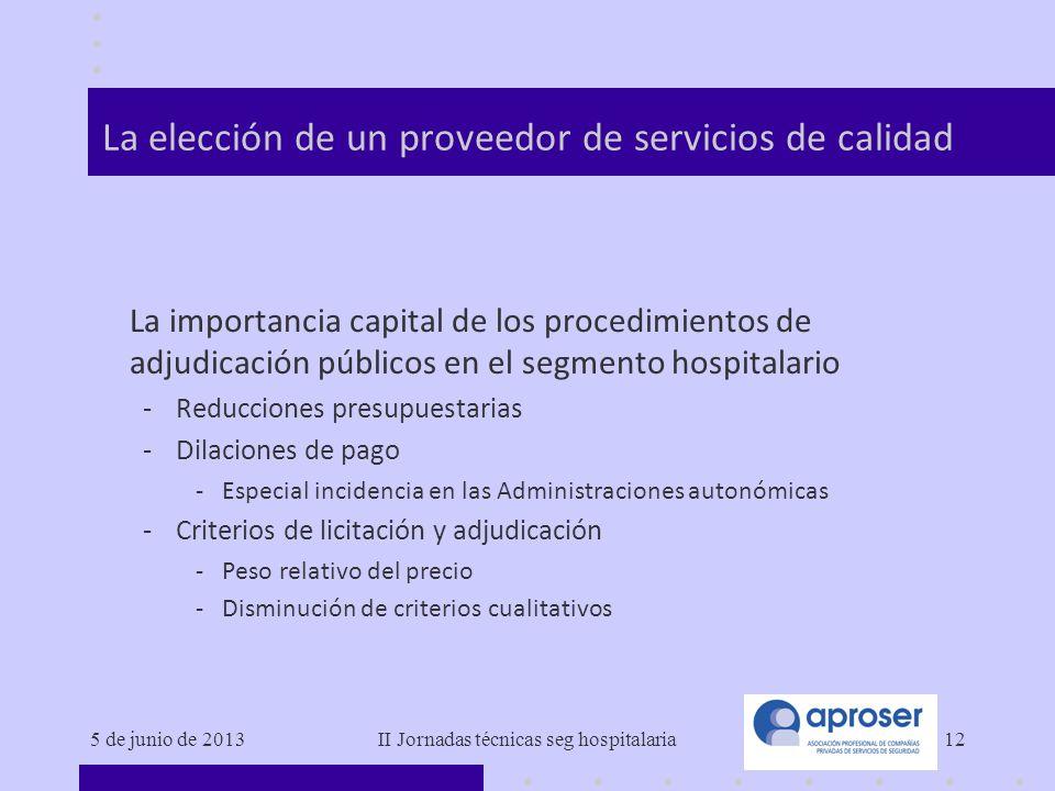 5 de junio de 2013II Jornadas técnicas seg hospitalaria12 La elección de un proveedor de servicios de calidad La importancia capital de los procedimie