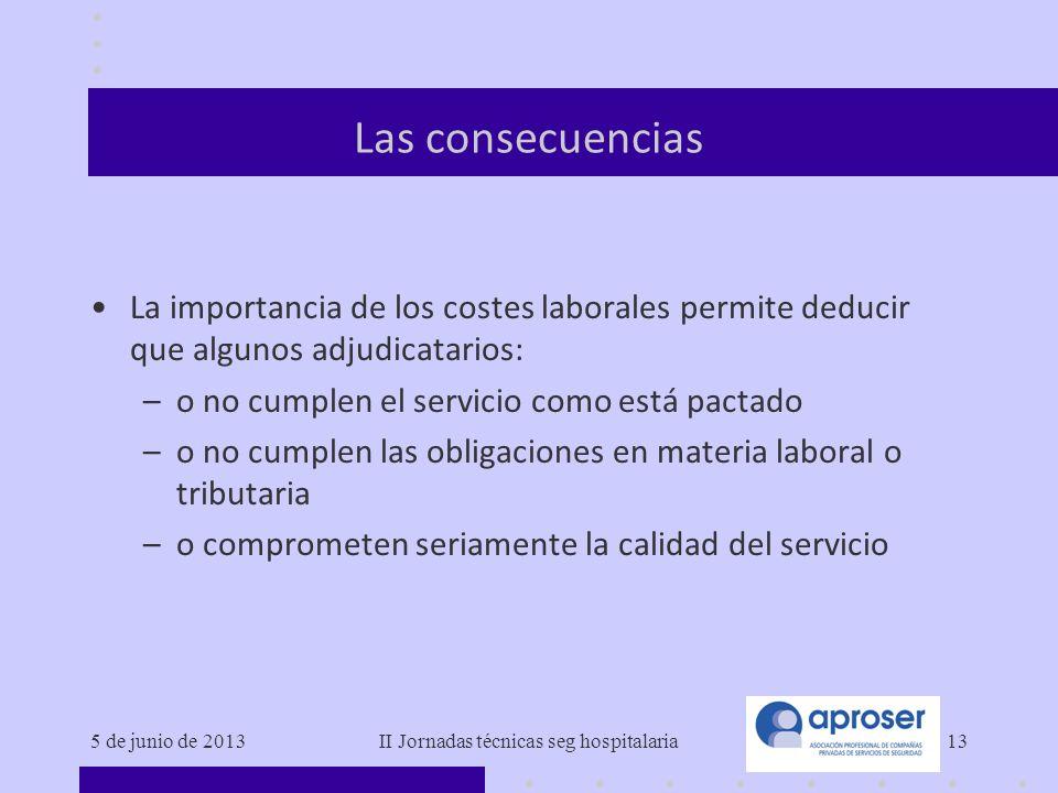 5 de junio de 2013II Jornadas técnicas seg hospitalaria13 Las consecuencias La importancia de los costes laborales permite deducir que algunos adjudic