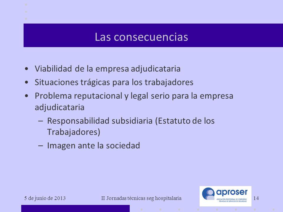 5 de junio de 2013II Jornadas técnicas seg hospitalaria14 Las consecuencias Viabilidad de la empresa adjudicataria Situaciones trágicas para los traba