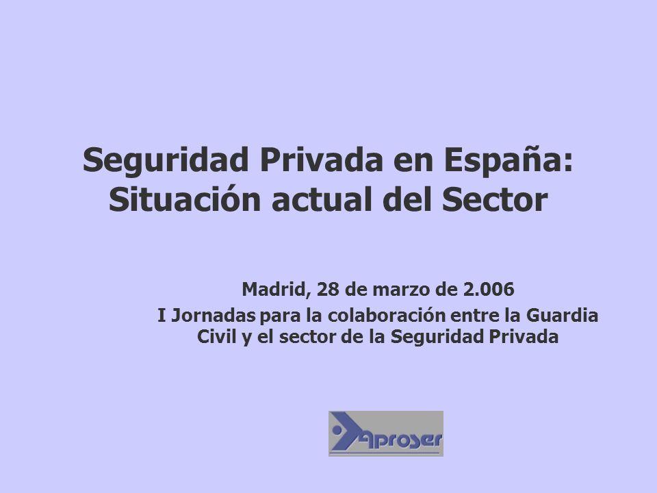 Seguridad Privada en España: Situación actual del Sector Madrid, 28 de marzo de 2.006 I Jornadas para la colaboración entre la Guardia Civil y el sect