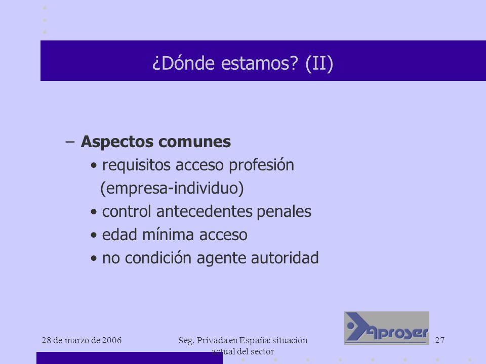 28 de marzo de 2006Seg. Privada en España: situación actual del sector 27 ¿Dónde estamos? (II) –Aspectos comunes requisitos acceso profesión (empresa-