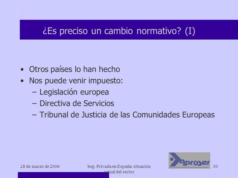 28 de marzo de 2006Seg. Privada en España: situación actual del sector 30 ¿Es preciso un cambio normativo? (I) Otros países lo han hecho Nos puede ven