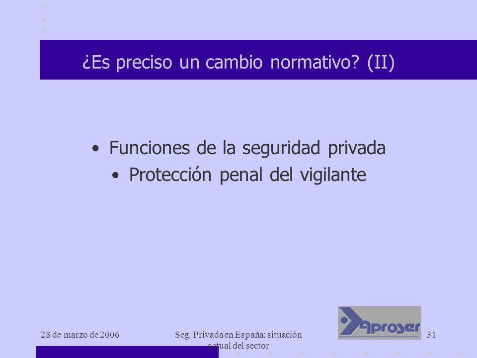 28 de marzo de 2006Seg. Privada en España: situación actual del sector 31 ¿Es preciso un cambio normativo? (II) Funciones de la seguridad privada Prot