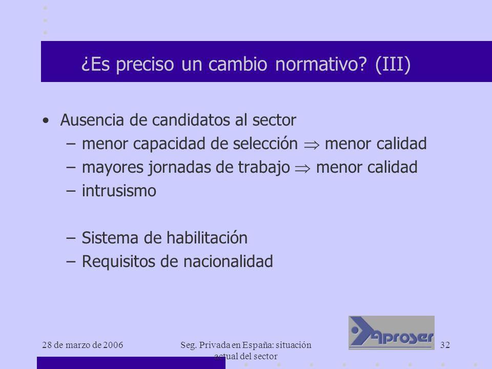 28 de marzo de 2006Seg. Privada en España: situación actual del sector 32 ¿Es preciso un cambio normativo? (III) Ausencia de candidatos al sector –men