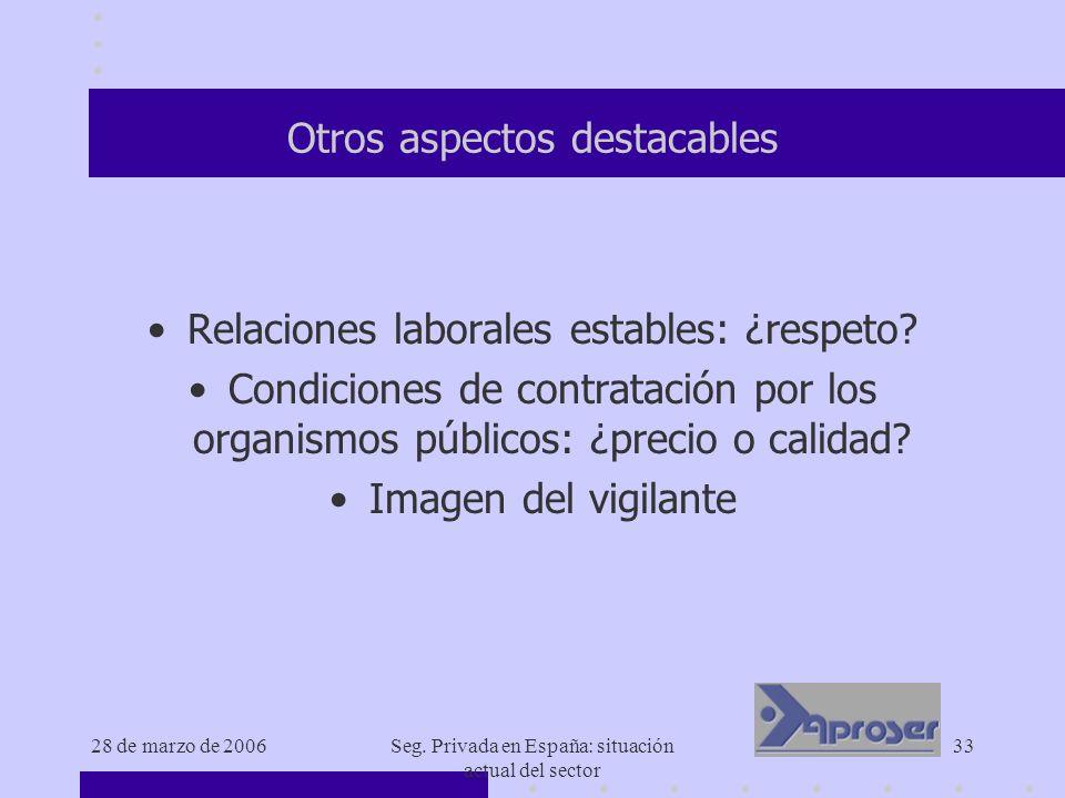 28 de marzo de 2006Seg. Privada en España: situación actual del sector 33 Otros aspectos destacables Relaciones laborales estables: ¿respeto? Condicio