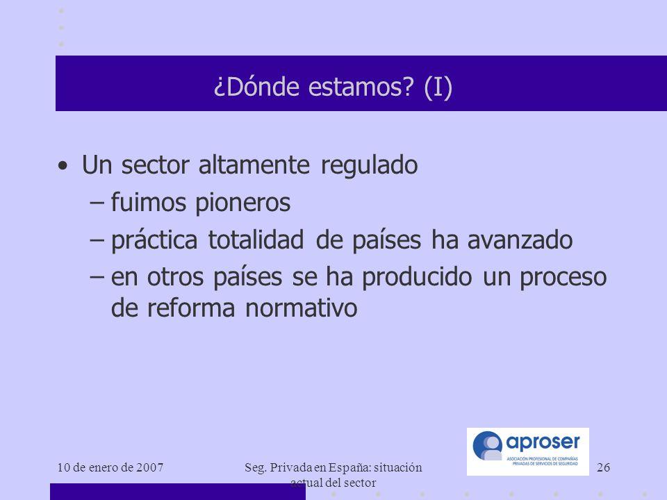 10 de enero de 2007Seg.Privada en España: situación actual del sector 26 ¿Dónde estamos.