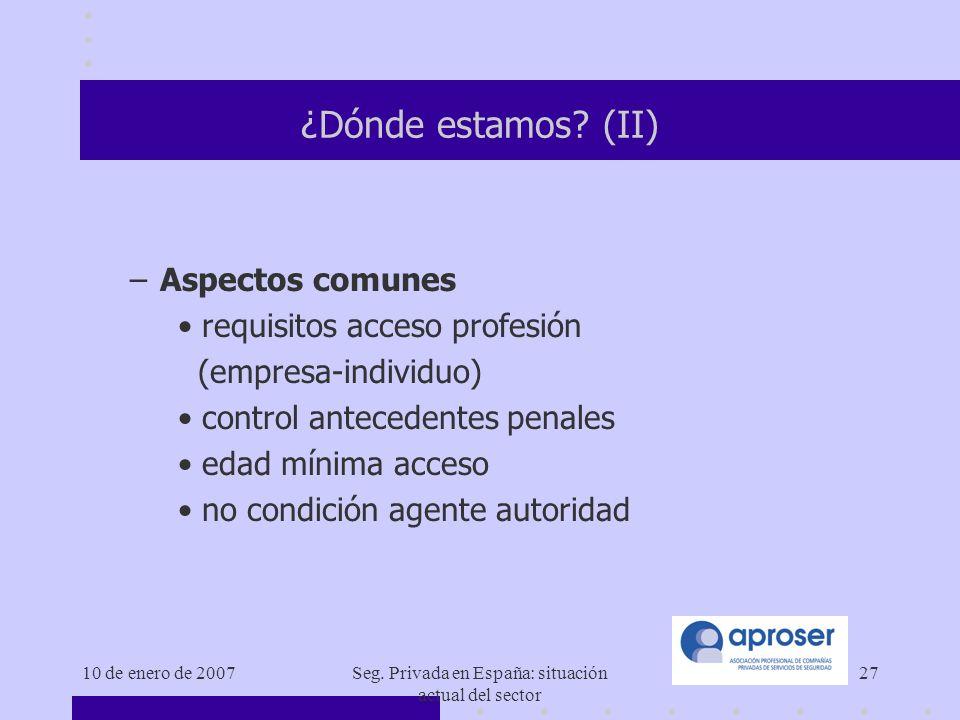 10 de enero de 2007Seg.Privada en España: situación actual del sector 27 ¿Dónde estamos.