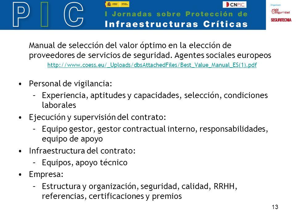 13 Manual de selección del valor óptimo en la elección de proveedores de servicios de seguridad.